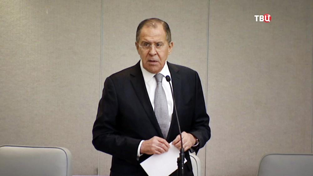 Глава МИД Сергей Лавров выступает на заседании Госдумы РФ