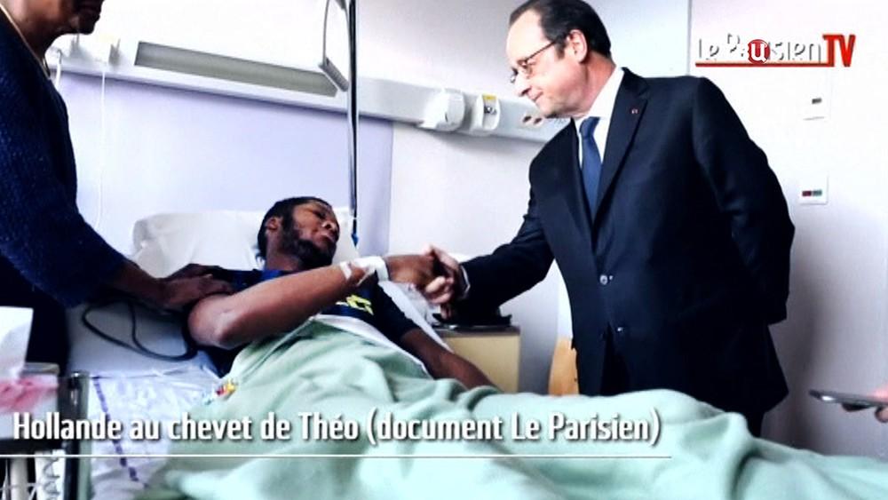 Франсуа Олланд и пострадавший Тео от действий полиции Франции