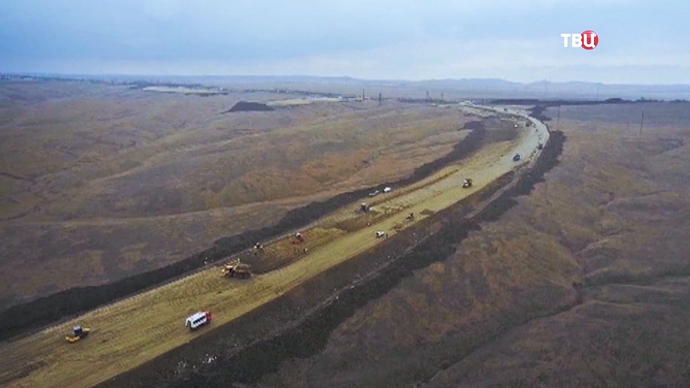 Строительство дороги к мосту через Керченский пролив