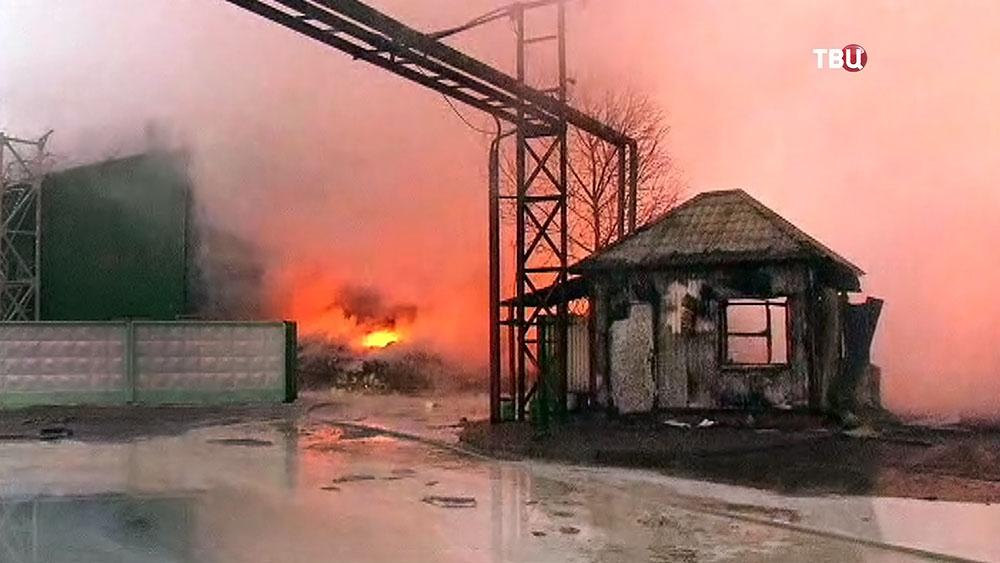 Последствия пожара на территории предприятия