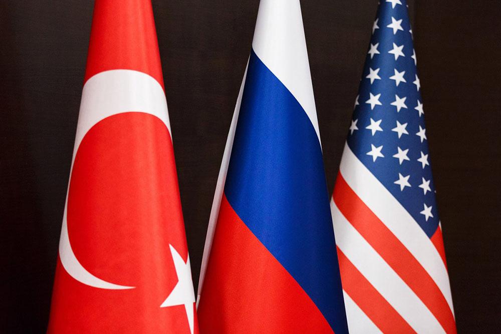 Флаги России, Турции и США