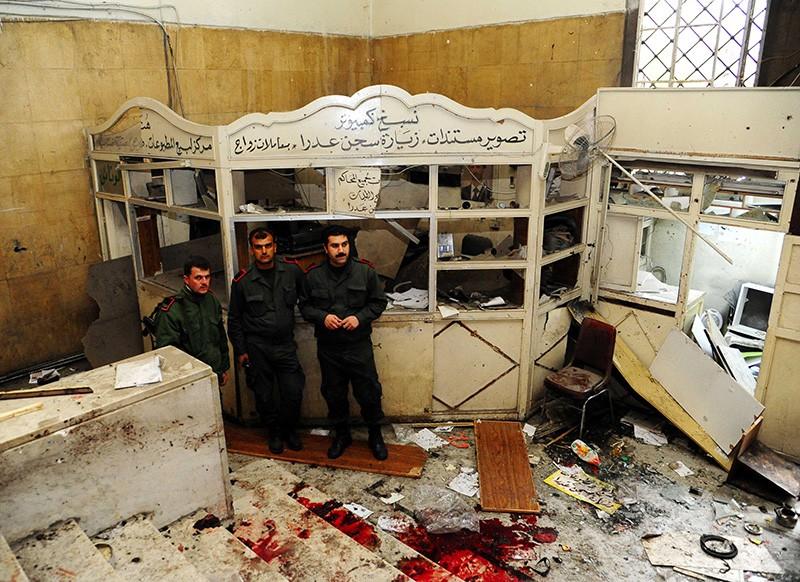 На месте взрыва в Дамаске, Сирия