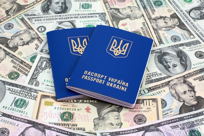 Два украинских загранпаспорта на фоне банкнот
