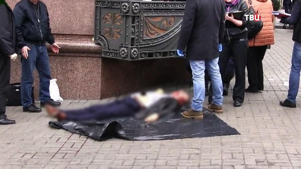 Место убийства бывшего российского парламентария Дениса Вороненкова в Киеве