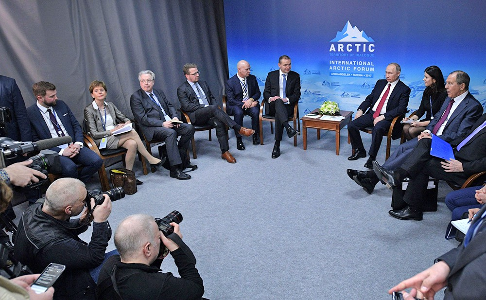Президент России Владимир Путин и президент Исландии Гудни Йоханнессон