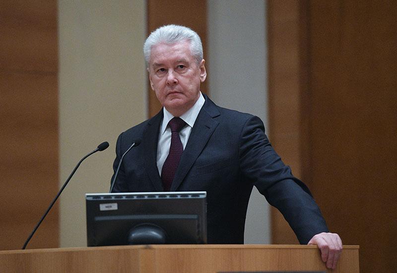 Мэр Москвы Сергей Собянин выступает на расширенном заседании совета Госдумы России