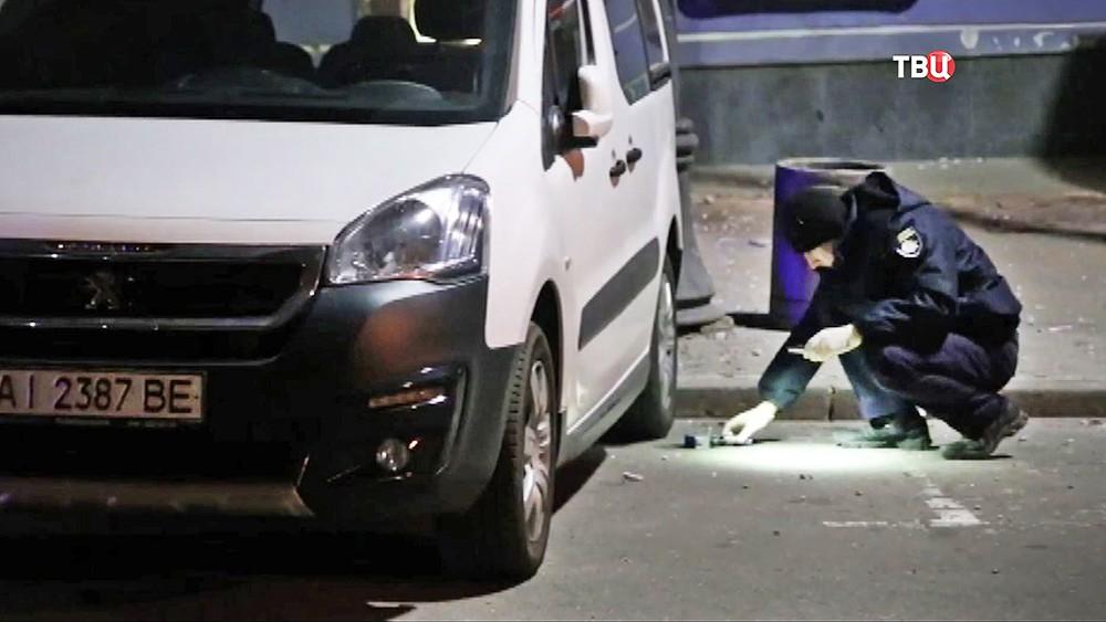 Криминалисты полиции Украины на месте взрыва