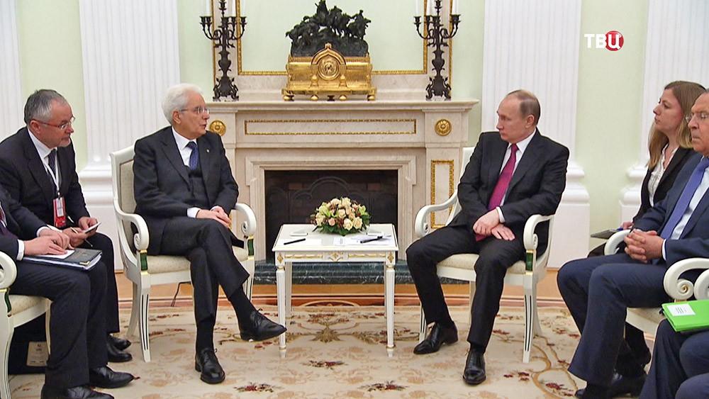 Президент России Владимир Путин и президент Италии Серджо Маттарелла