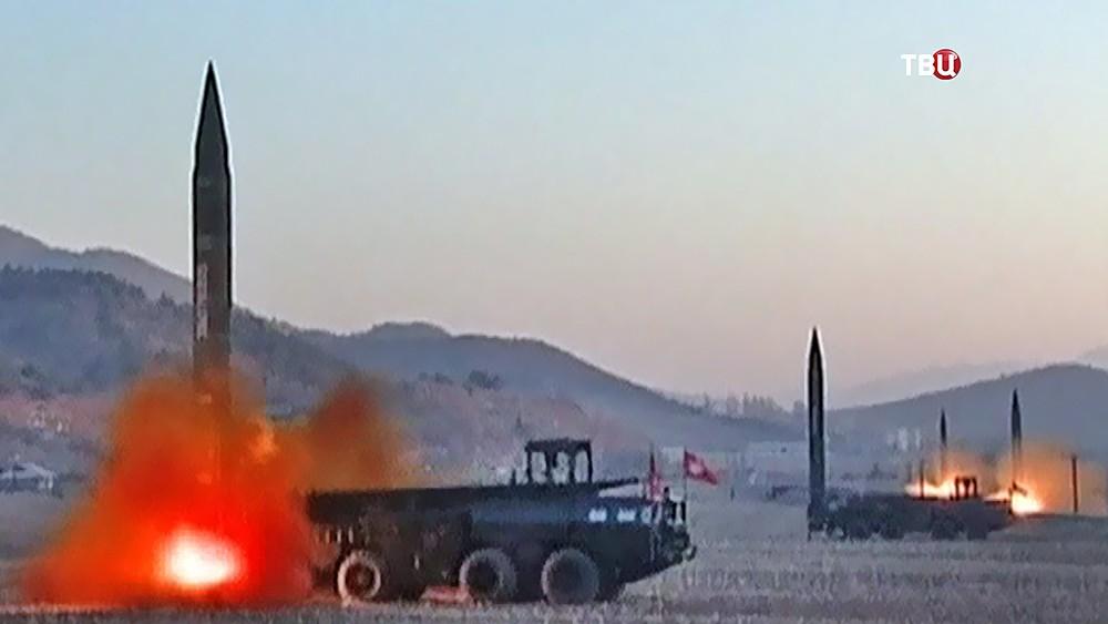 Запуск баллистических ракет. КНДР