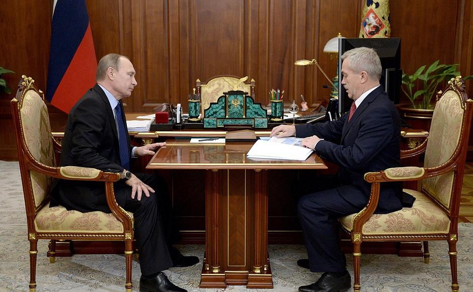 Президент Владимир Путин и губернатор Белгородской области Евгений Савченко