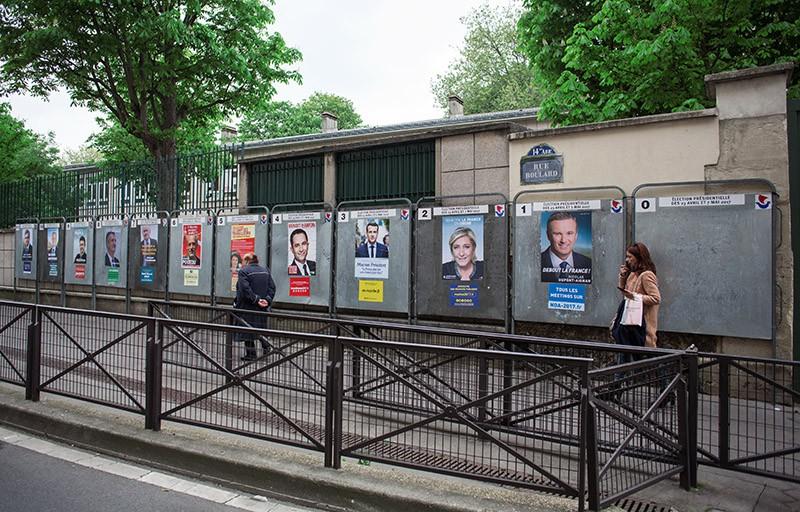 Плакаты с изображениями кандидатов в президенты Франции