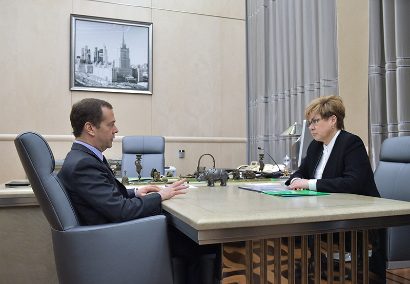 Председатель правительства России Дмитрий Медведев и губернатор Забайкальского края Наталья Жданова