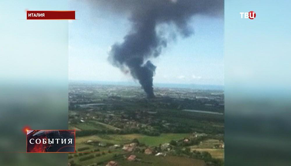 Пожар на свалке в пригороде Рима