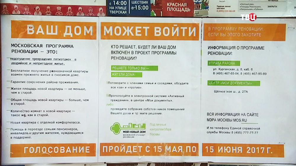 Голосование по программе реновации пятиэтажек в Москве