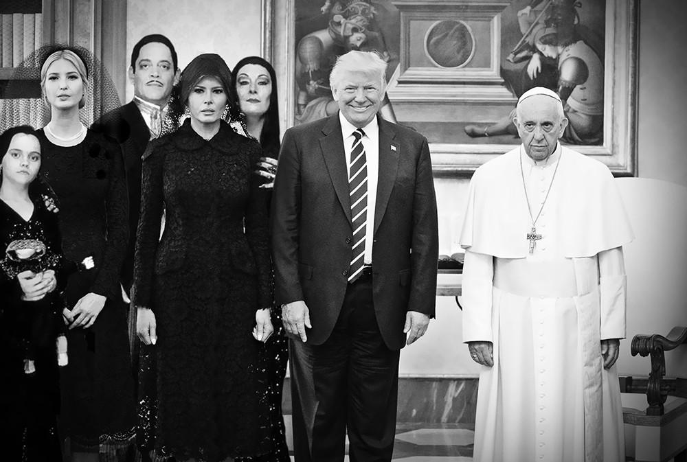 Коллаж: Папа Римский, семья Трампов и семейка Аддамс