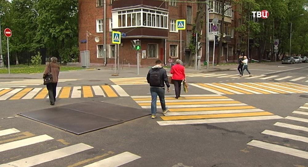 Разметка диагонального пешеходного перехода