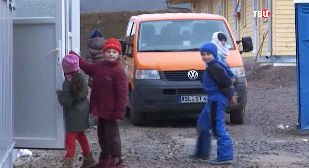 Дети в лагере для беженцев в Германии