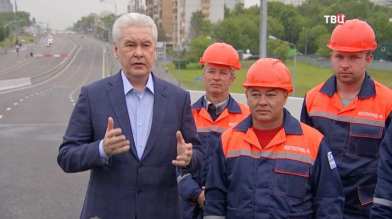 Мэр Москвы Сергей Собянин на открытии Аминьевского шоссе