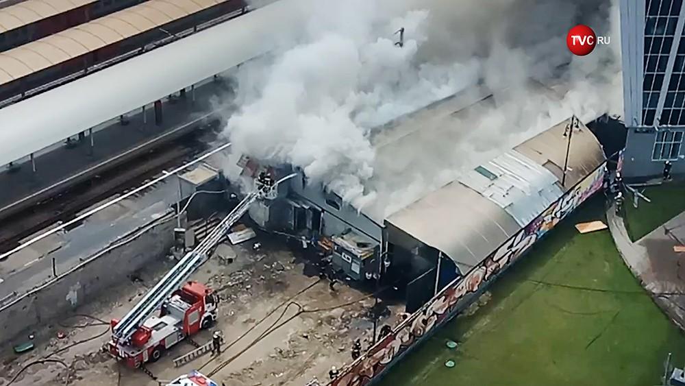 Пожар возле Киевского вокзала