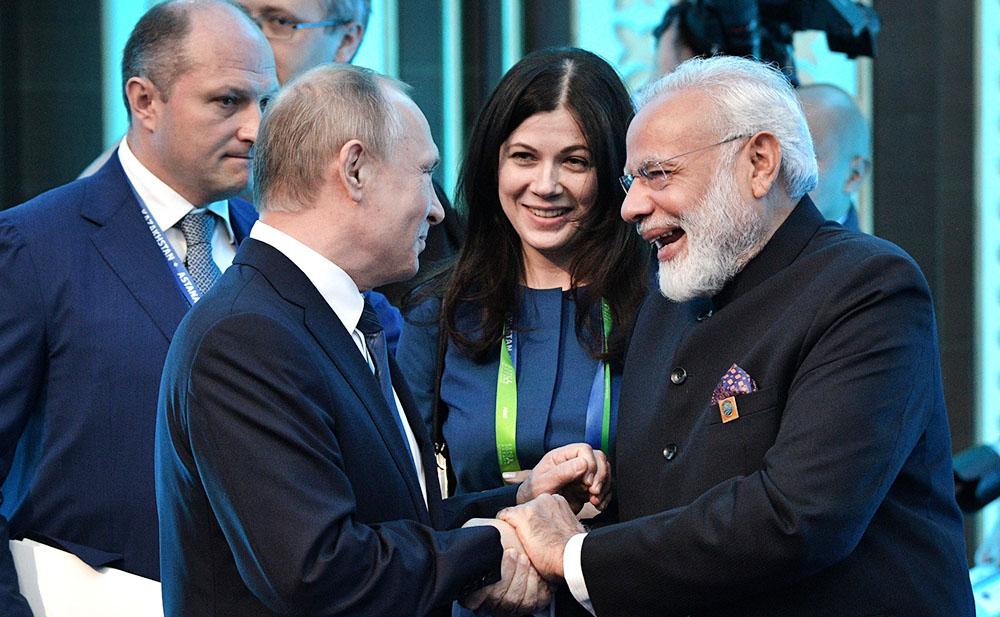 Президент России Владимир Путин и премьер-министр Индии Нарендр Моди