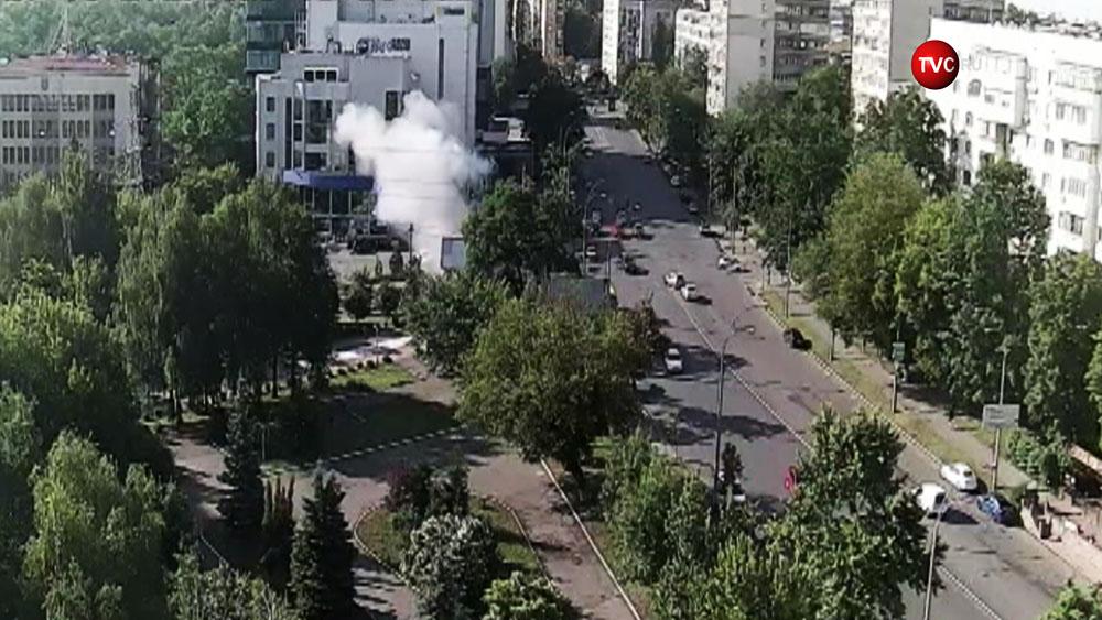 Момент взрыва автомобиля в Киеве