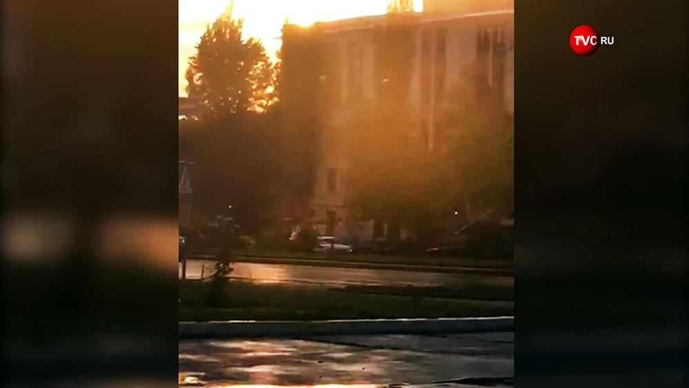 Место взрыва в Донецке