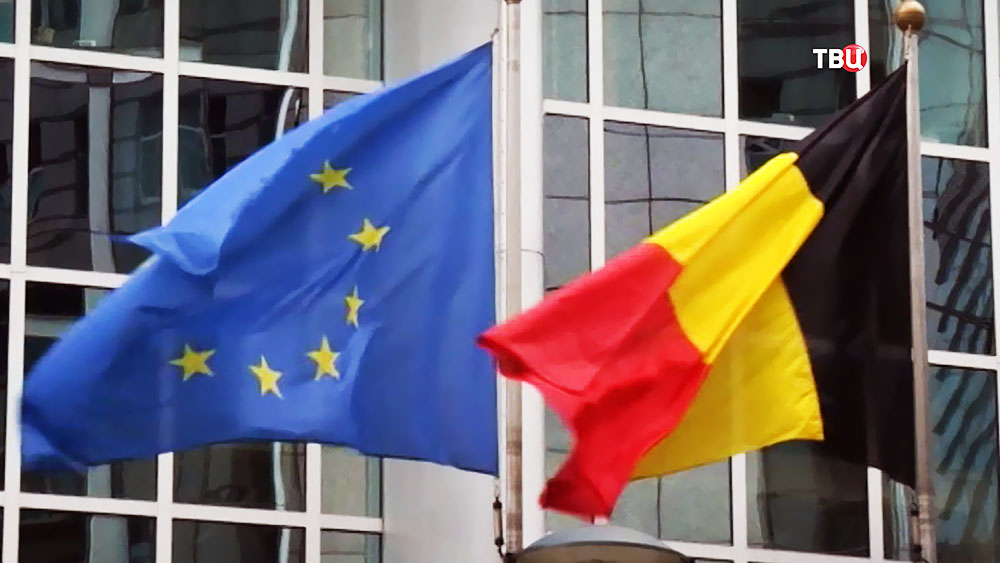 Флаги Бельгии и Евросоюза