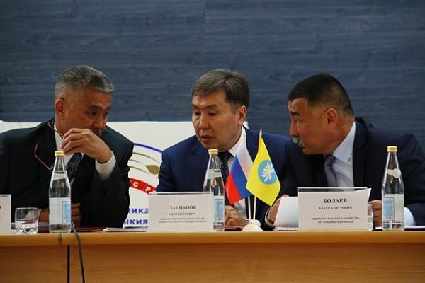 Первый вице-премьер Калмыкии Петр Ланцанов (в центре)