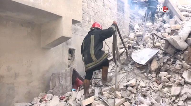 Подразделение пожарной охраны в восточном Алеппо