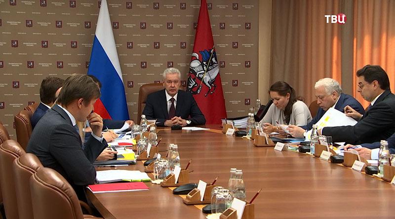 Сергей Собянин на заседании президиума правительства Москвы.