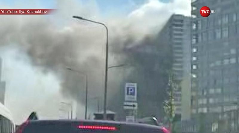 Пожар в высотке на Новом Арбате