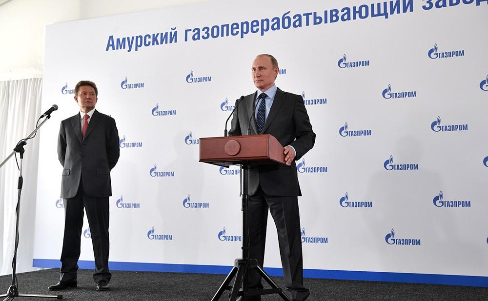 Владимир Путин на старте по строительству Амурского газоперерабатывающего завода