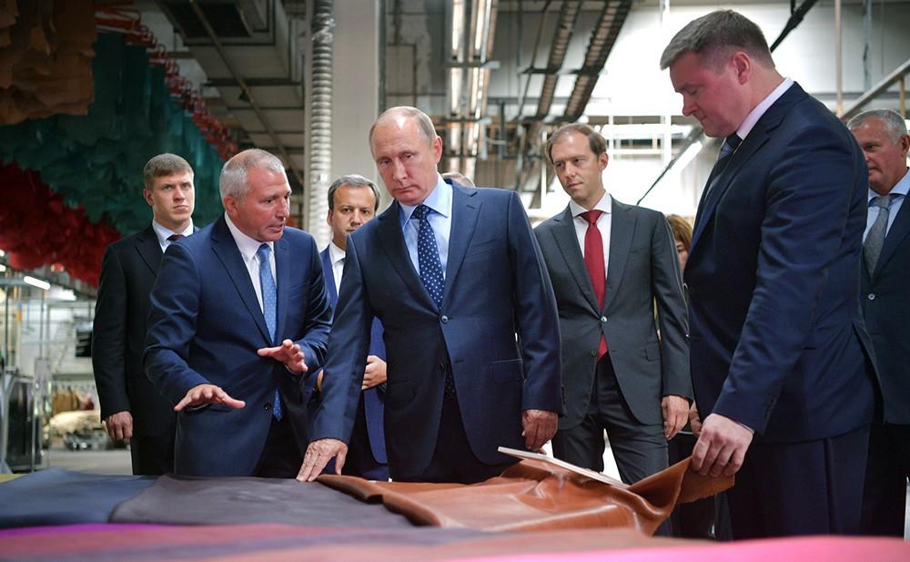 Владимир Путин на Рязанском кожевенном заводе