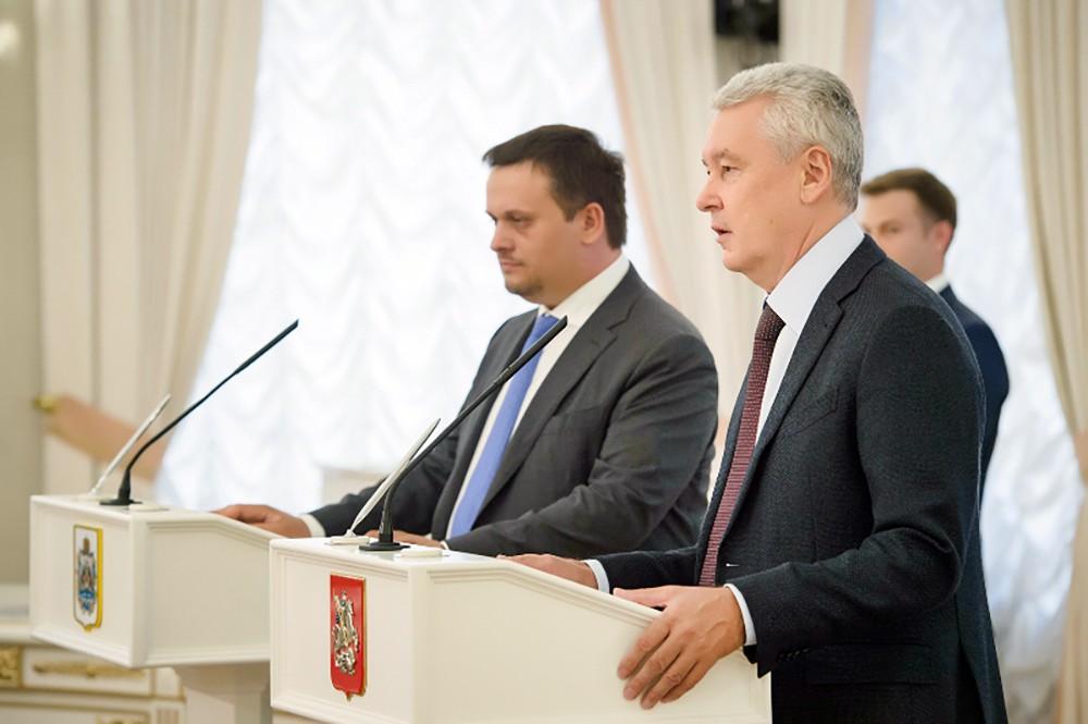 Мэр Москвы Сергей Собянин и врио губернатора Новгородской области Андрей Никитин