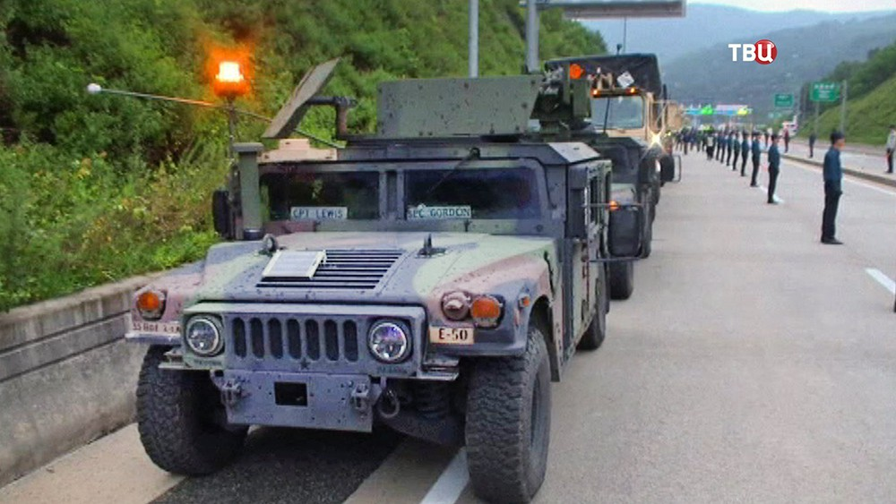 Колонна военной техники армии США