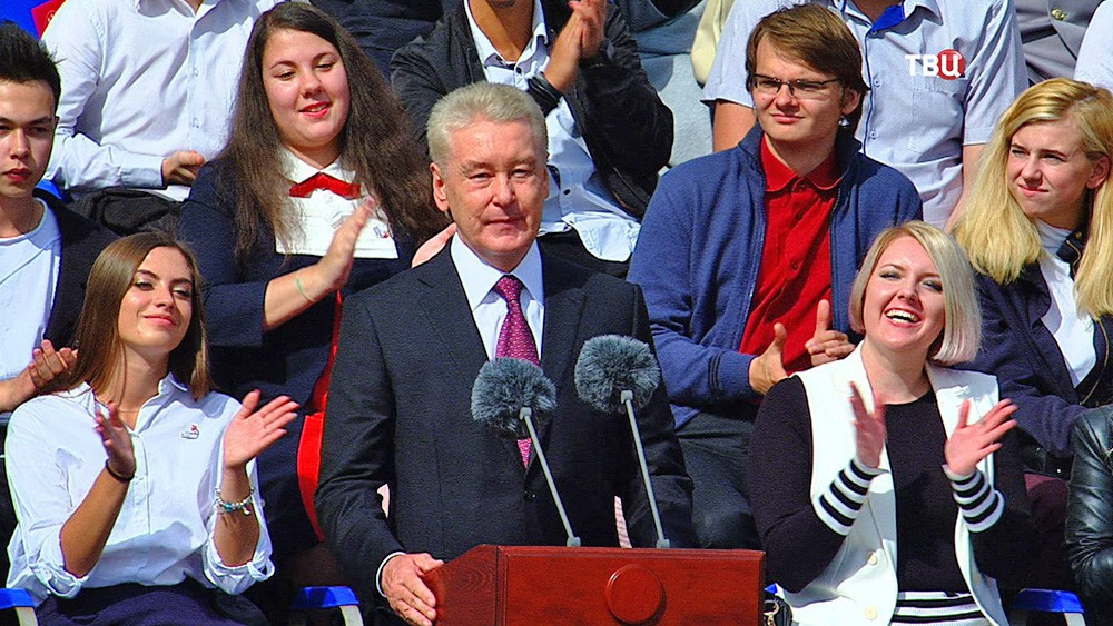 Мэр Москвы Сергей Собянин выступает на Красной площади