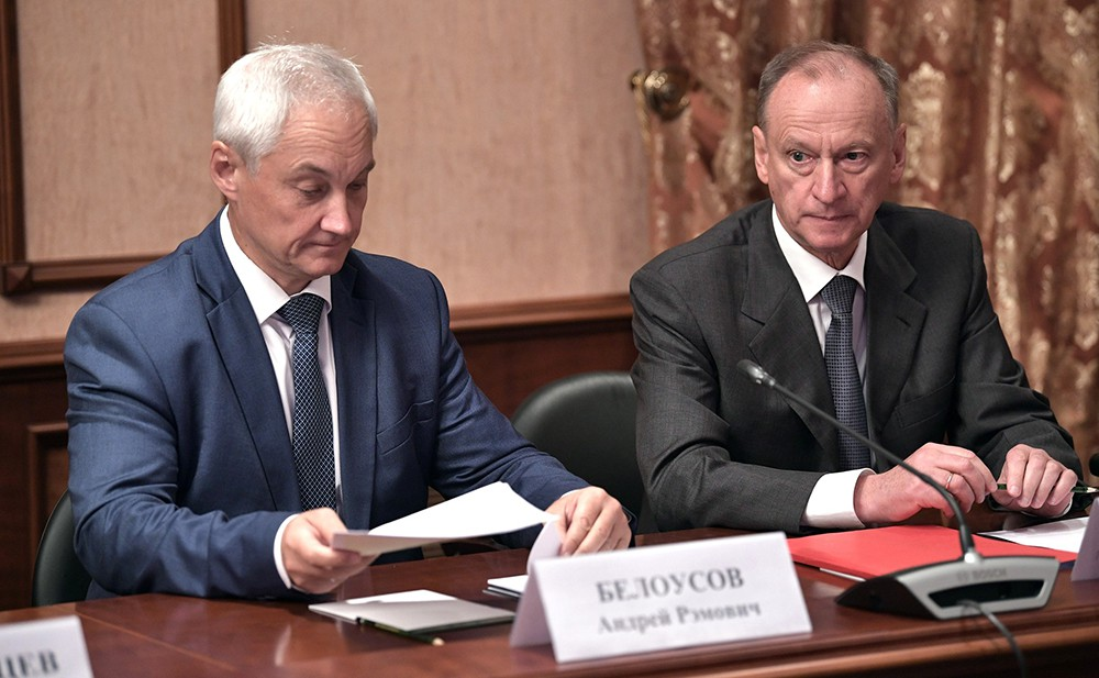 Помощник Президента Андрей Белоусов и Секретарь Совета Безопасности Николай Патрушев