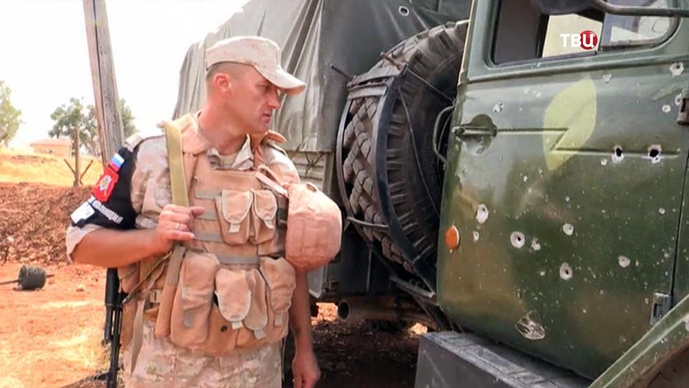 Последствия обстрела Военной полиции МР России в Сирии