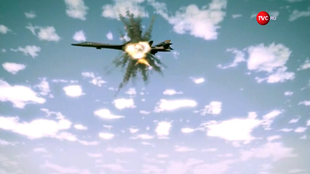 На видео издания DPRK Today показано, как ракеты КНДР уничтожают бомбардировщик США