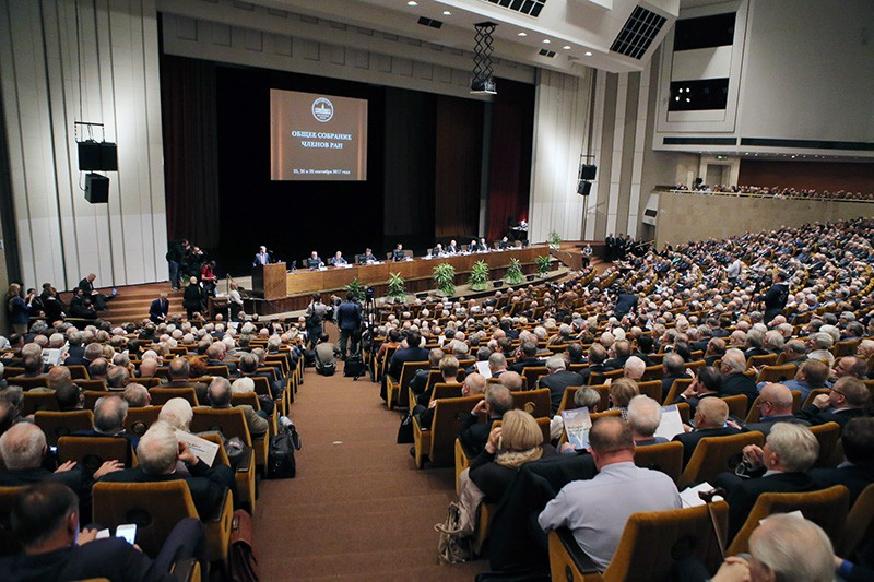 На общем собрании членов РАН в Москве, где проходит обсуждение кандидатов на должность президента РАН