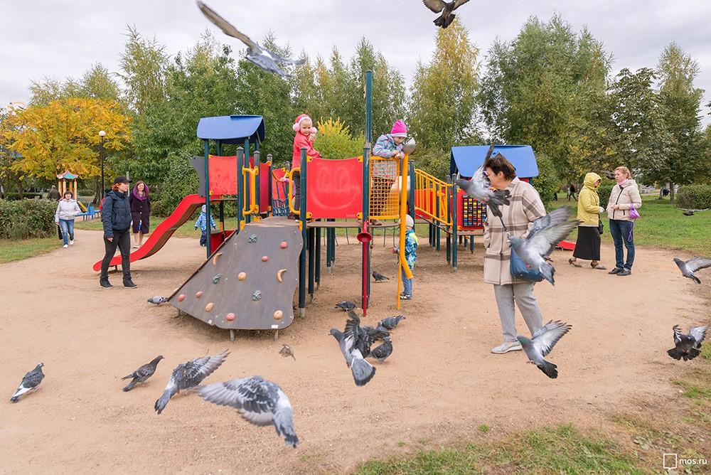 Осмотр хода благоустройства нового городского парка в Южном Бутове