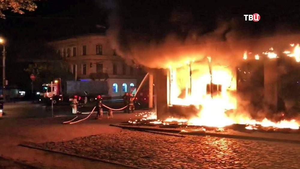 Пожар в отделении Сбербанка на Украине