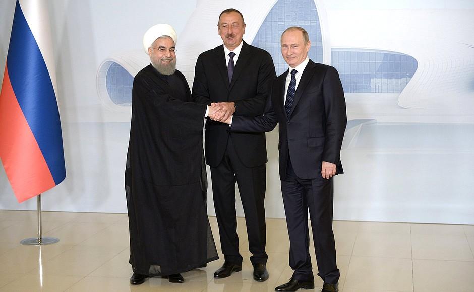 Президент России Владимир Путин, лидер Ирана Хасан Роухани и глава Азербайджана Ильхам Алиев
