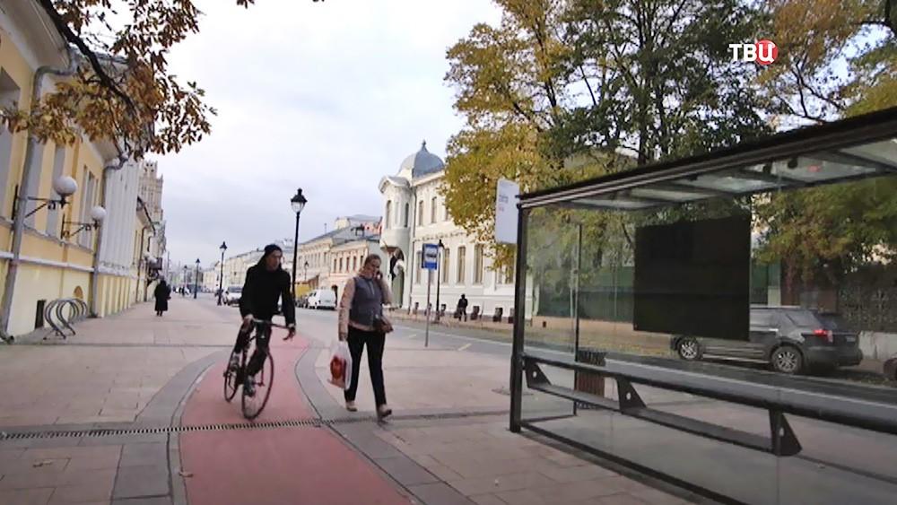 Велодорожка в центре Москвы
