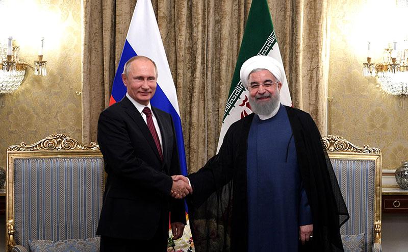 Президент России Владимир Путин и президент Ирана Хасан Рухани