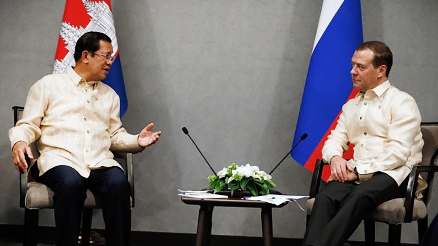 Дмитрий Медведев и премьер-министр Королевства Камбоджа Хун Сен