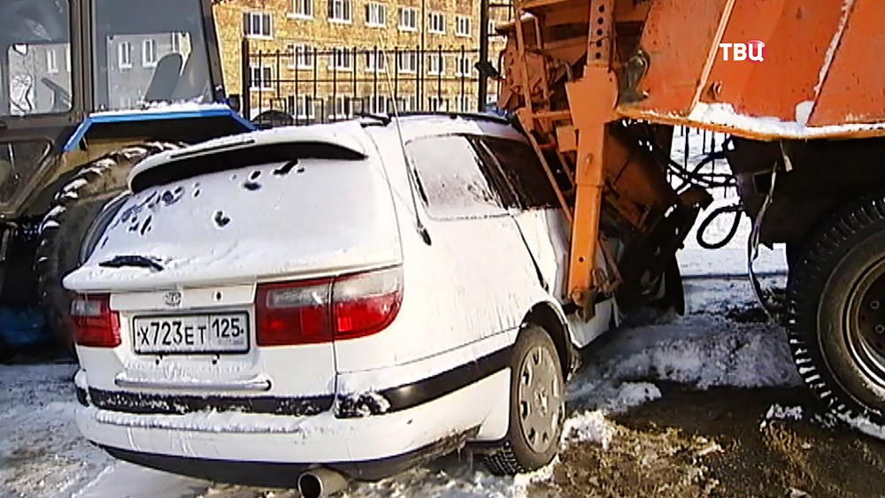 ДТП, как следствие снегопада в Приморье