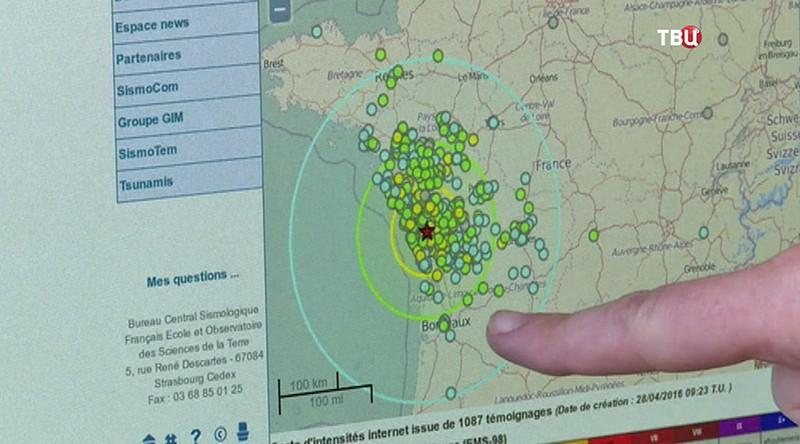 Точки землетрясений