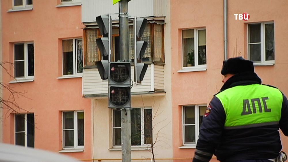 Инспектор ДПС и светофор