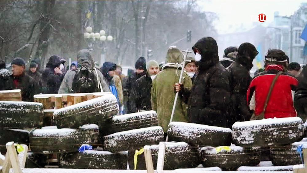 Баррикады протестующих в Киеве